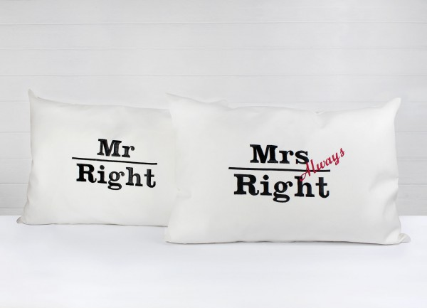 Kissenhüllen Mr & Mrs Right 2er Set inkl. Füllung