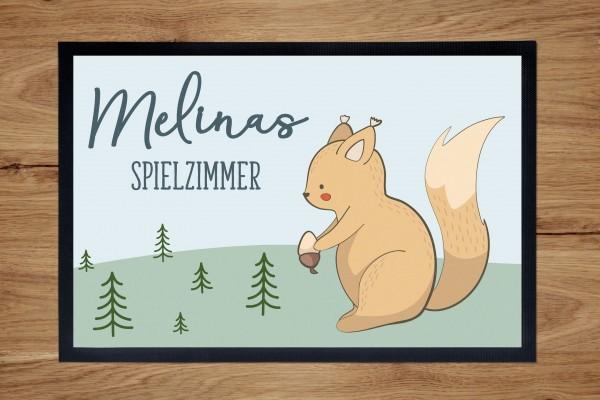Fußmatte oder Spielmatte mit Motiv Eichhörnchen und Namen personalisiert