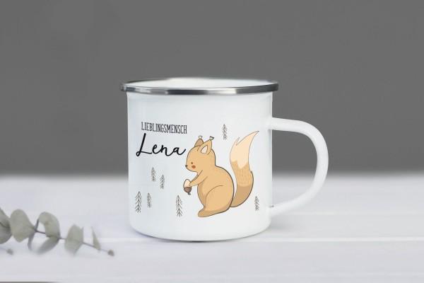 Emaille Tasse Eichhörnchen mit Namen personalisiert