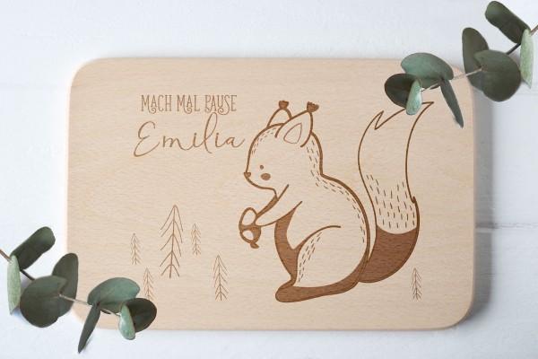 Brotzeitbrett für Kinder mit Eichhörnchen Waldtier