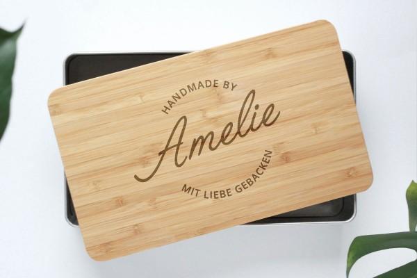 Geschenkdose mit Bambusdeckel graviert Handlettering Name
