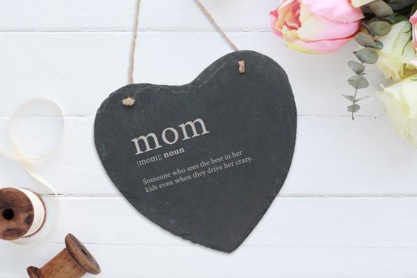 personalisierte Wanddekoration Schiefer Herz Beste Mama Mum Muttertag