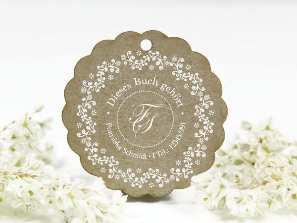 Adressstempel, Blumenornament, retro, personalisiert mit Telefonnummer, Buch