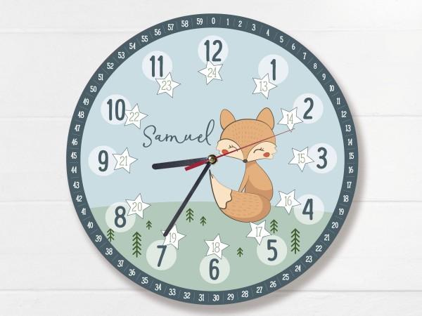 Kinder-Lernuhr mit 12/24 Stunden und Minuten mit Motiv Fuchs und Namen personalisiert