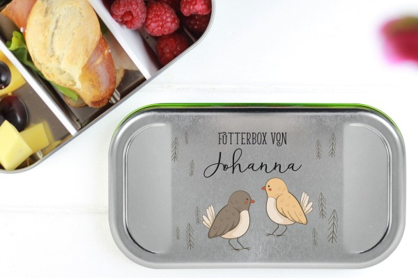 Butterbrotdose Metall Vögelchen mit Namen personalisiert