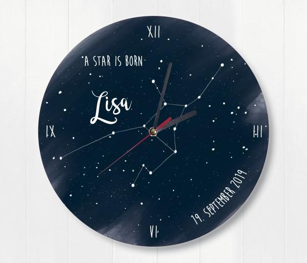 Sternzeichen Sternenhimmel uhr mit Name und Datum