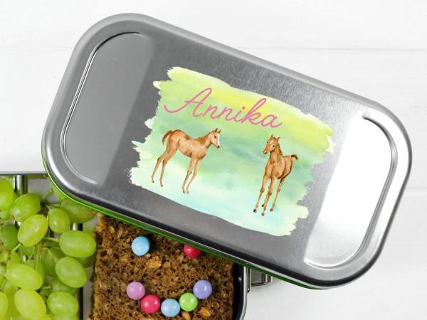 Lunchbox mit 2 Pferden, personalisiert