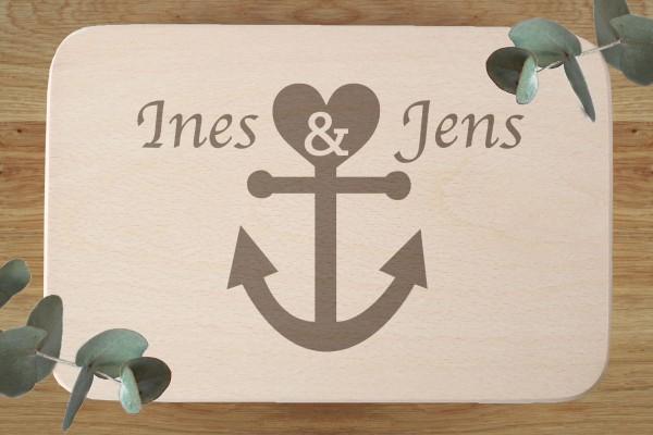 Brettchen Hochzeitsgeschenk mit Namen und Anker Herz