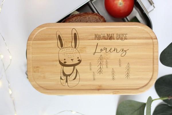 Nachhaltige Brotdose Name auf Lunchbox mit Bambusdeckel Waldtier Baby Hase