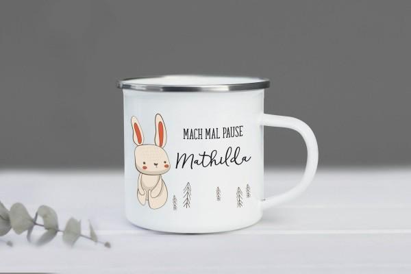 Emaille Tasse Hase mit Namen personalisiert