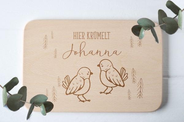 Brotzeitbrett für Kinder mit Vögelchen Baby-Waldtier und Namen