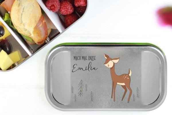 Butterbrotdose Metall Reh mit Namen personalisiert