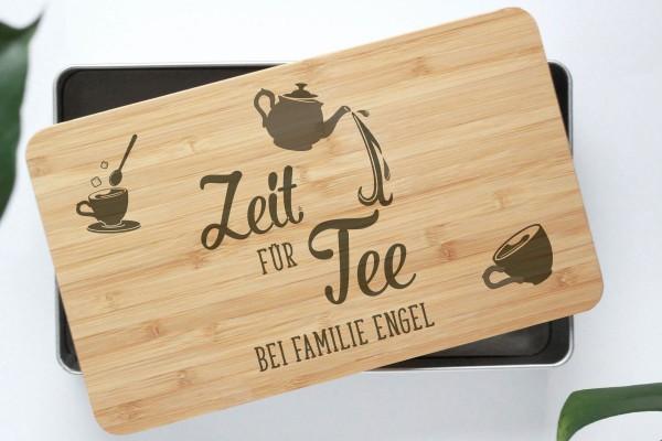 Teebox Teekiste mit Bambusdeckel für zeit für Tee, Gelassenheit und Ruhe