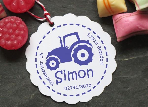 Stempel Traktor mit Namen für Kinder
