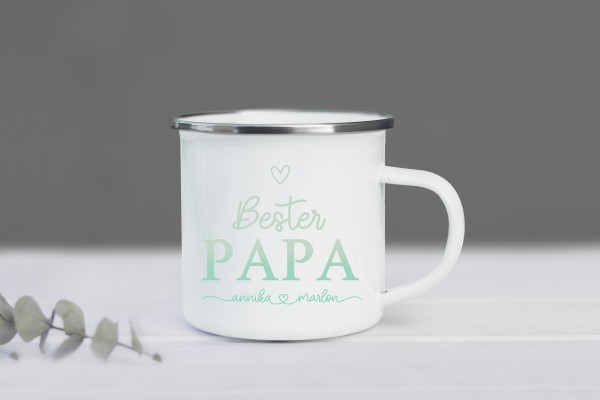 Emaille Tasse Bester Papa mit Namen personalisiert