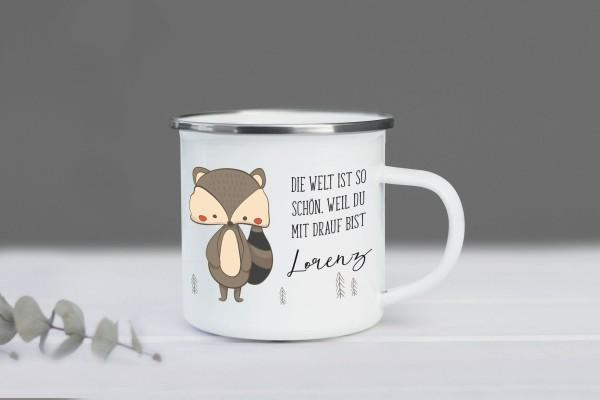 Emaille Tasse Waschbär mit Namen personalisiert