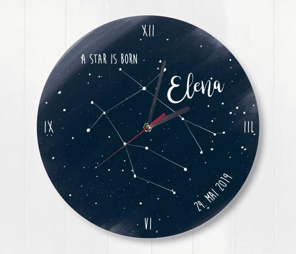 Sternzeichen Sternenhimmel Uhr mit Name und Datum Zwilling