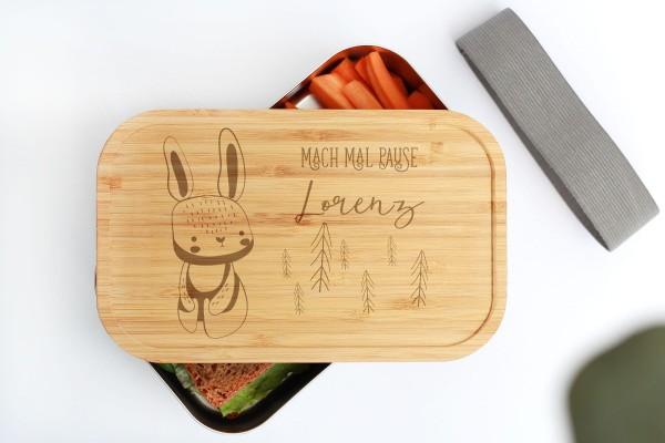 Nachhaltige Brotdose aus Edelstahl mit Bambusdeckel Baby Animal Hase