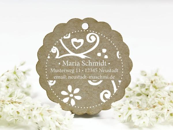Adressstempel, Blumenornament, personalisiert mit Name und e-mail
