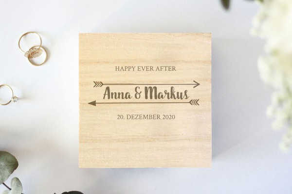Holzschachtel mit Gravur Happy Ever After