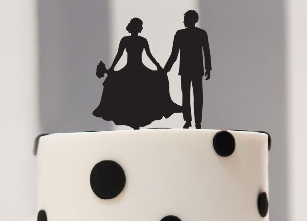 Cake Topper Braut & Bräutigam als Silhouette