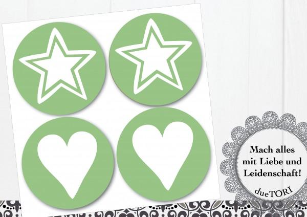 24/15 Sticker - Herz und Stern - Grün