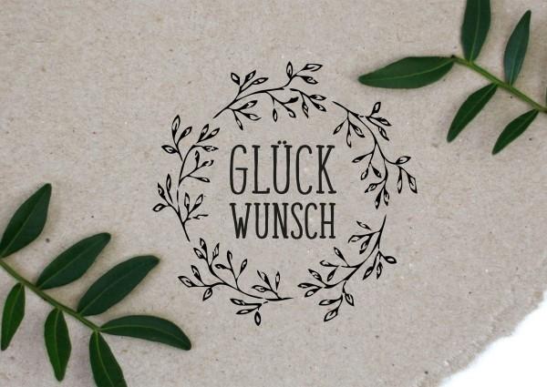 Blumenkranz Stempel mit Spruch GLÜCKWUNSCH