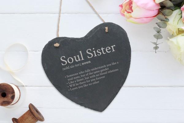 personalisierte Wanddekoration Schiefer Herz Soul Sister