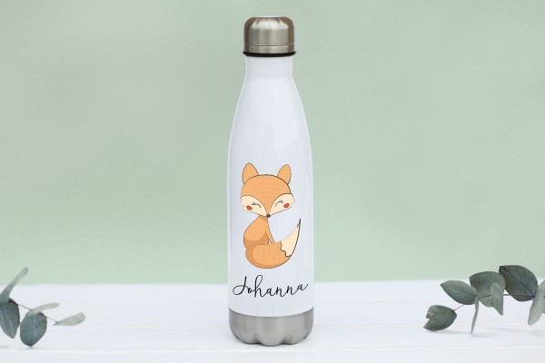 Thermotrinkflasche aus Edelstahl mit Fuchs und Namen, weiße Flasche, farbig bedruckt