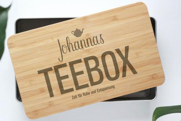 Teebox mit Bambusdeckel Zeit für Ruhe und Entspannung graviert mit Wunschtext
