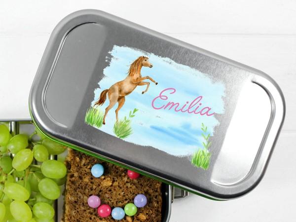 Lunchbox mit springendem Pferd, personalisiert