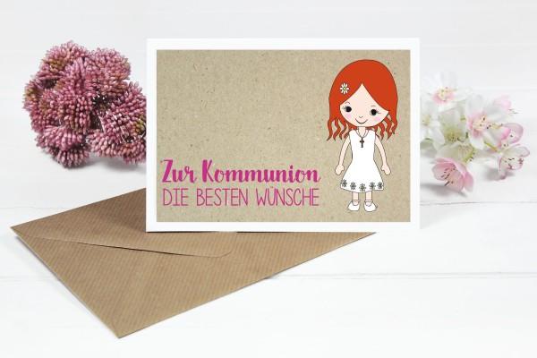 Glückwunschkarte zur Kommunion für Mädchen mit roten Haaren