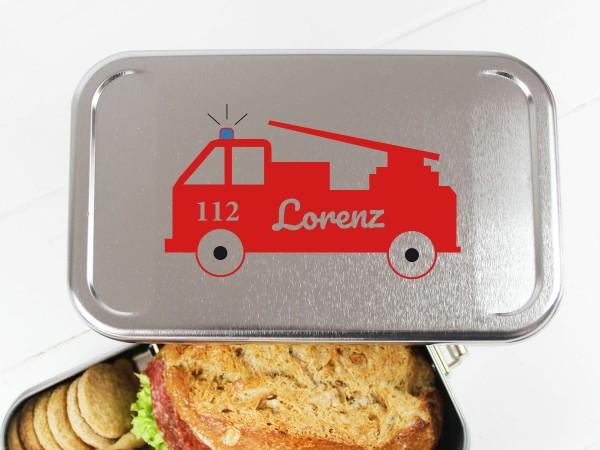 Nachhaltige Brotdose mit Name auf Feuerwehrauto Feuerwehr