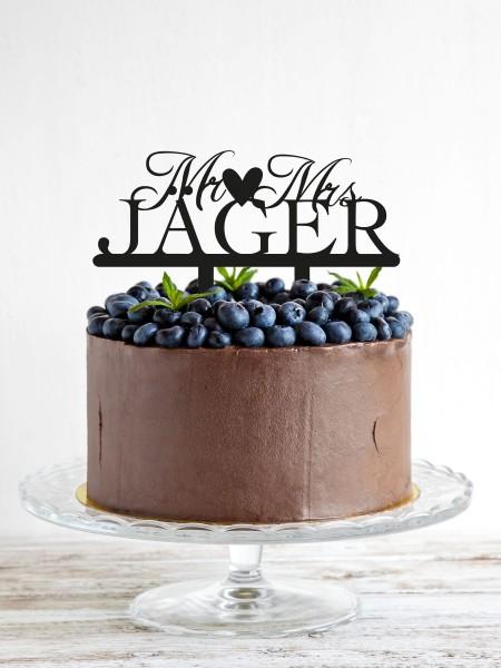 Cake Topper Mr & Mrs personalisiert mit Herz