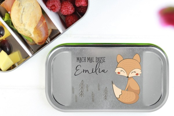 Butterbrotdose Metall Fuchs mit Namen personalisiert