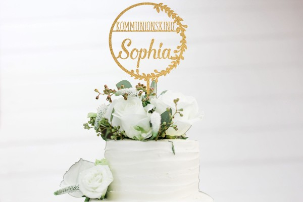 Cake Topper Landhausstil zur Kommunion mit Namen