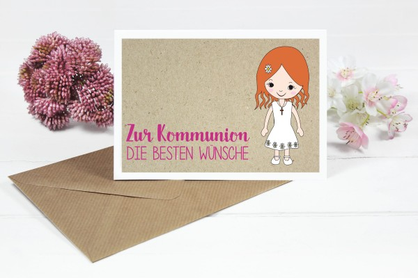 Glückwunschkarte zur Kommunion für Mädchen mit orangen Haaren