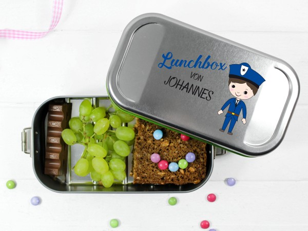 Lunchbox Polizist (blau), personalisiert