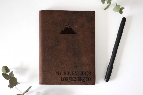 Lederbuch reisetagebuch mit Gravur namen Tagebuch