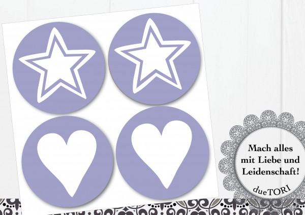 24/15 Sticker - Herz und Stern - Lavendel