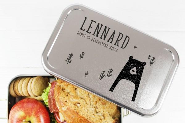 Nachhaltige Brotdose Name auf Lunchbox Bärenstark