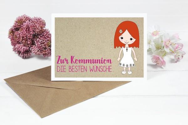 Glückwunschkarte zur Kommunion für Mädchen mit roten Bob