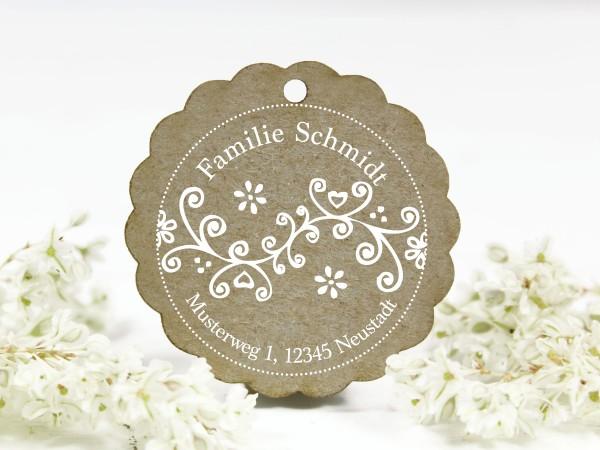Adressstempel, Blumenornament, retro, personalisiert mit Familienname