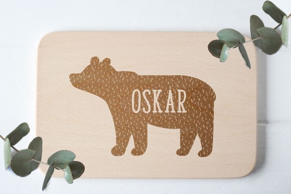 Frühstücksbrettchen Bär mit Namen