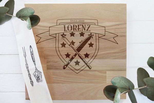 Schneidebrett Grillbrett Geburtstag Wappen mit Namen und Sterne
