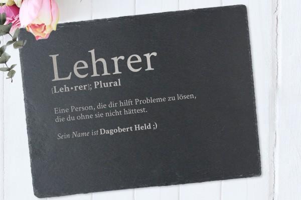 Tischset mit Namen Definition Lehrer aus Schiefer
