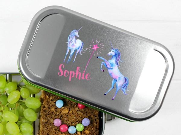 Lunchbox mit Einhorn und Zauberstab, personalisiert
