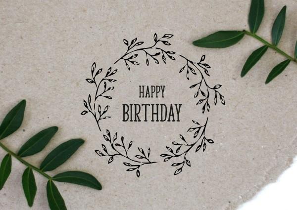 Blumenkranz Stempel mit Spruch Happy Birthday