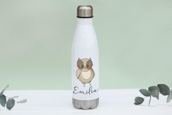 Thermotrinkflasche aus Edelstahl mit Eule und Namen, weiße Flasche, farbig bedruckt
