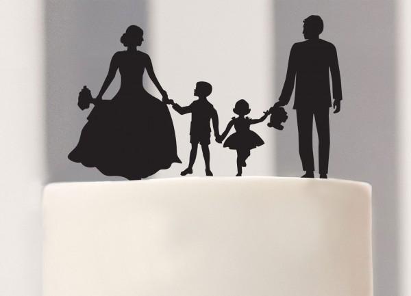 Cake Topper Brautpaar mit Kindern als Silhouette
